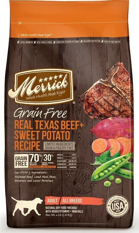 Merrick grain Free Real Texas Beef Sweet Potato dog food